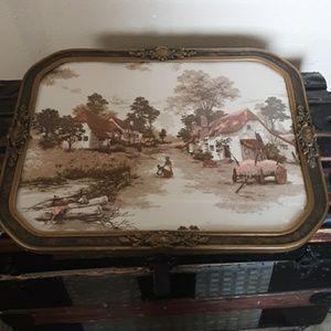 Vintage Textile in Antique Celluloid Frame